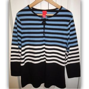 Avenue Tie-Front Striped Long Sleeve Top - 14/16
